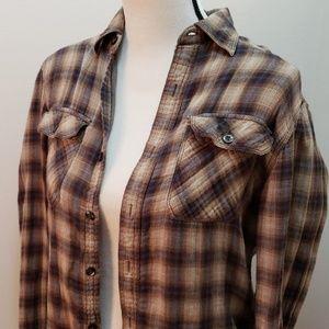 Converse all star neutral plaid flannel button top